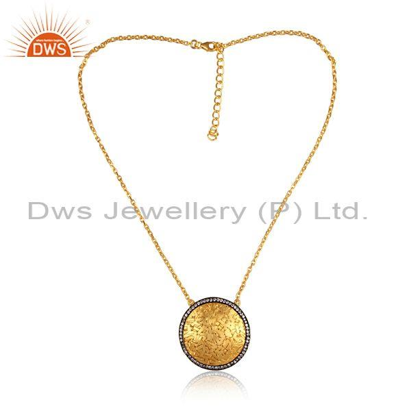 CZ Set Gold And Black On Silver Meta Art Pendant And Chain