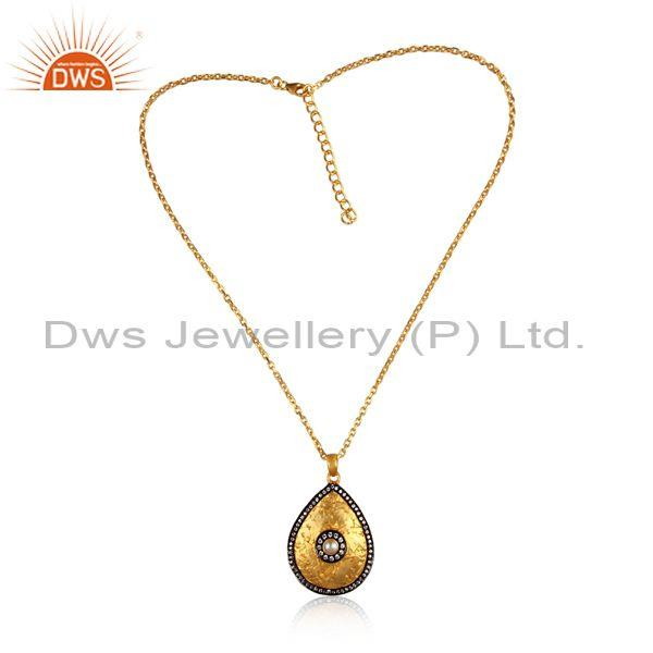 CZ And Pearl Set Gold And Black On Silver Pendant And Chain