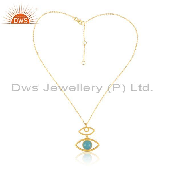 Aqua Chalcedony Evil Eye Pendant And Gold On Silver Chain