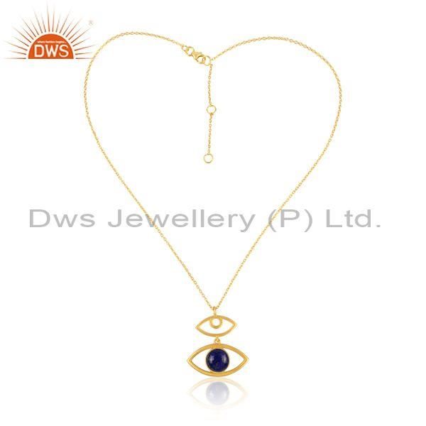 Lapis Set Evil Eye Pendant And Gold On Sterling Silver Chain