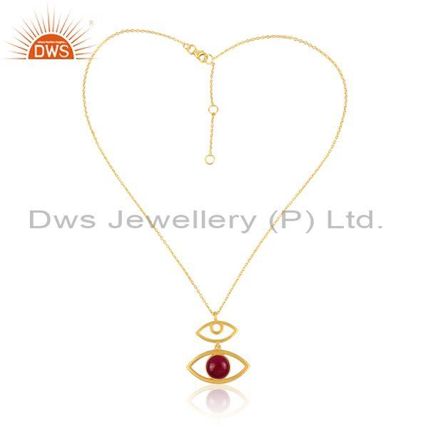 Dyed Ruby Set Evil Eye Pendant And Gold On 925 Silver Chain