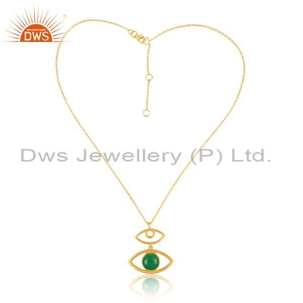 Aventurine Set Evil Eye Pendant And Gold On 925 Silver Chain