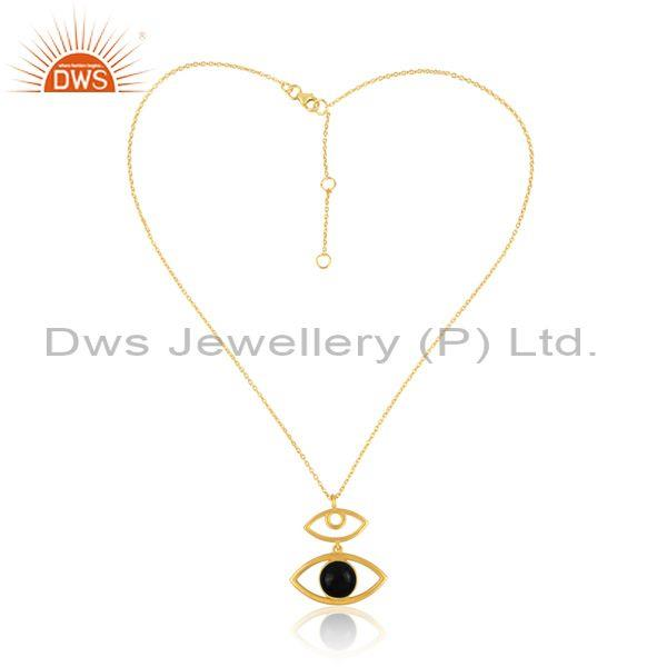 Black Onyx Set Evil Eye Pendant And Gold On 925 Silver Chain