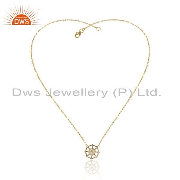 Classic diamond set round solid 14k gold pendant and chain
