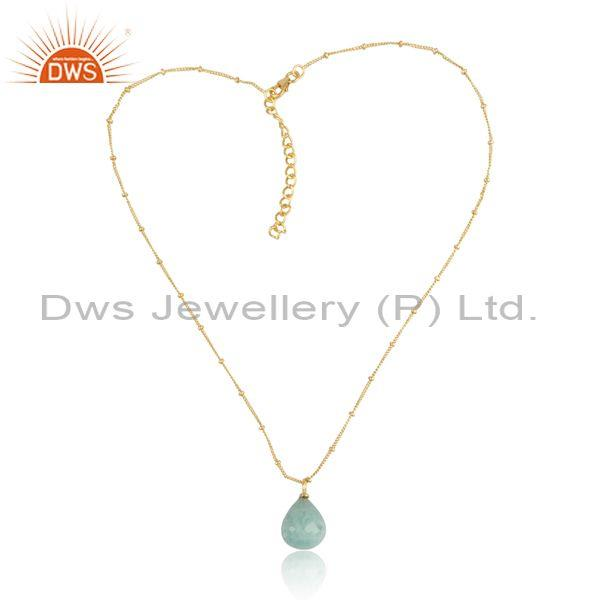 Amazonite set gold on 925 sterling silver pendant and chain