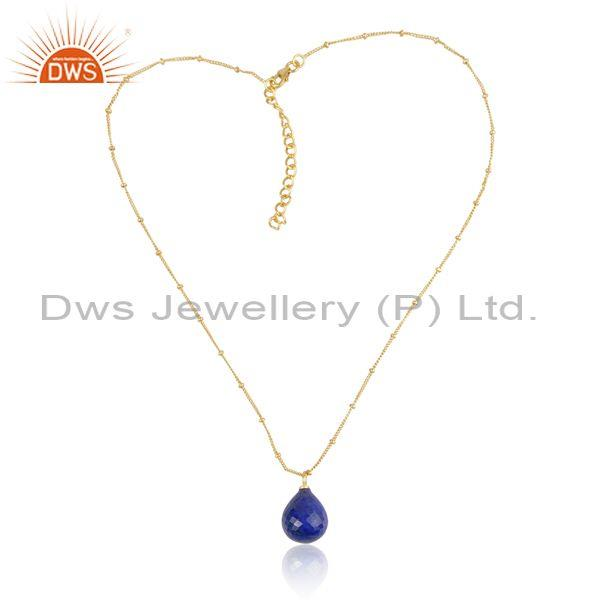 Pear Cut Lapis Set Gold On Sterling Silver Pendant And Chain