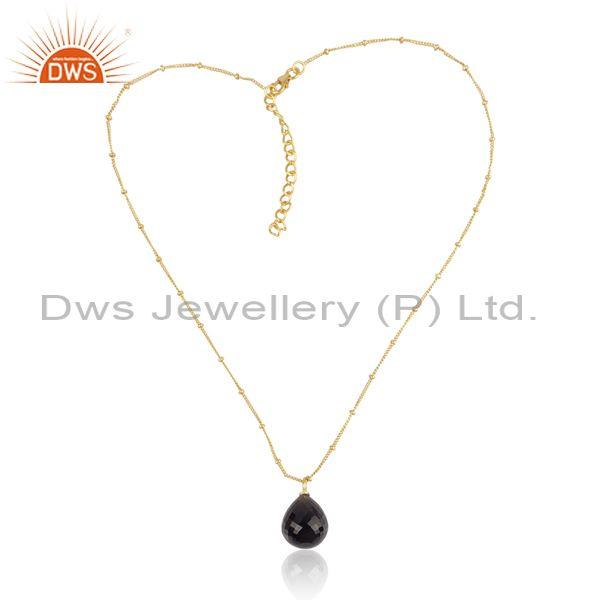 Smoky briolette set gold on 925 silver pendant and chain