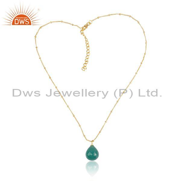 Green onyx set gold on 925 sterling silver pendant and chain