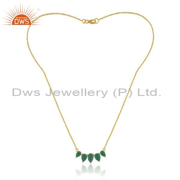 Green onyx set classic gold on 925 silver pendant and chain