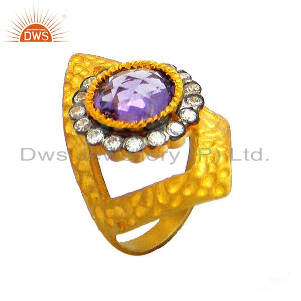 22K Yellow Gold Plated Sterling Silver Amethyst And CZ Textured Designer Ring
