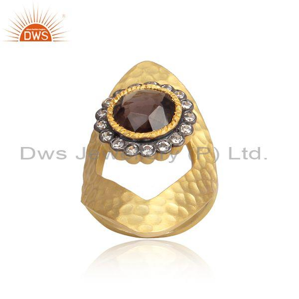 Cz and smoky set gold and black on 925 silver handmade ring