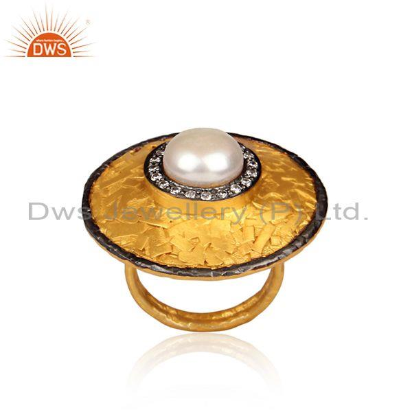 CZ, Pearl Set Gold And Black On Silver Round Meta Art Ring