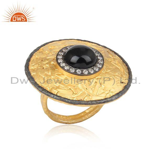 CZ And Black Onyx Gold And Black On 925 Silver Hammered Ring