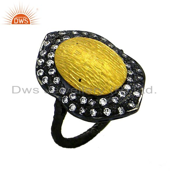 Oxidized & 18K Yellow Gold Plated Sterling Silver Cubic Zirconia Statement Ring