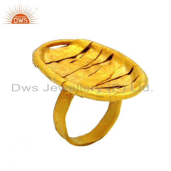 24K Yellow Gold Plated Sterling Silver Hammered Wire Weave Cocktail Ring