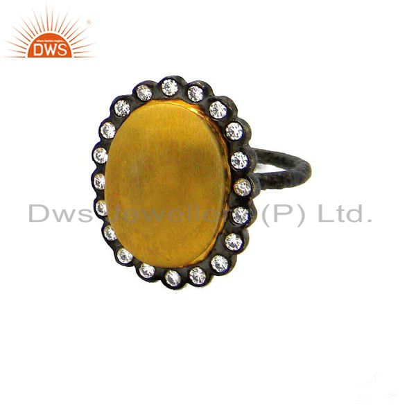 Oxidized 22K Gold Plated Sterling Silver Cubic Zirconia Designer Cocktail Ring