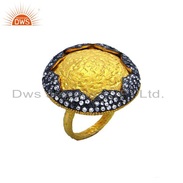 18K Yellow Plated Sterling Silver Cubic Zirconia Womens Cocktail Fashion Ring