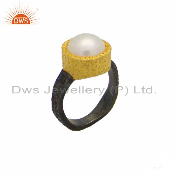 Oxidized And 18K Yellow Gold Plated Sterling Silver Pearl Textured Ring