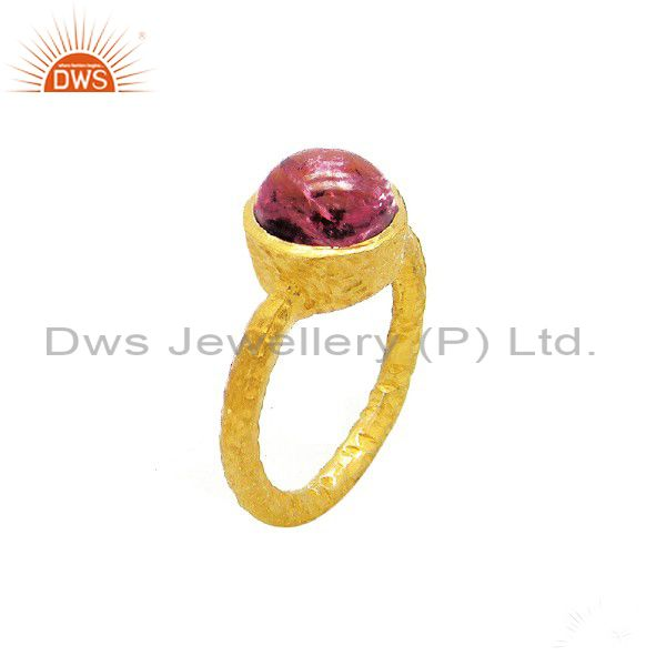 24K Yellow Gold Plated Sterling Silver Pink Tourmaline Stacking Ring