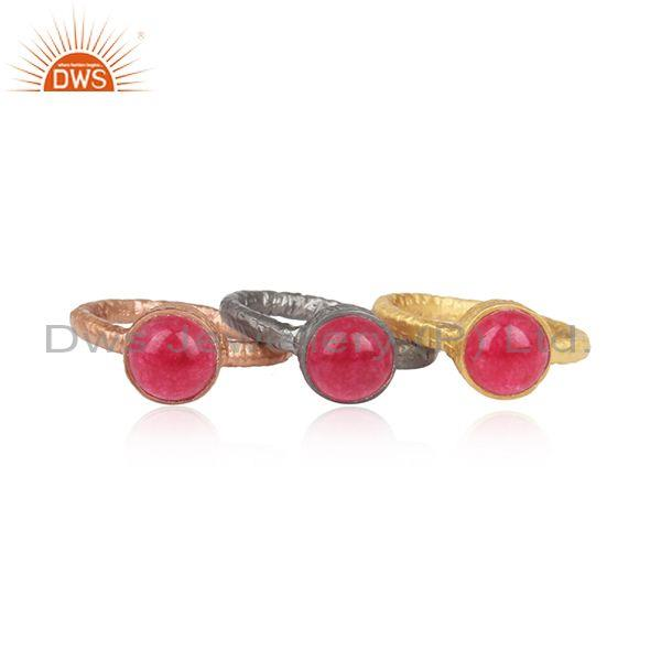 Multi Plated, Three Finger Silver Aventurine Red Quartz Ring