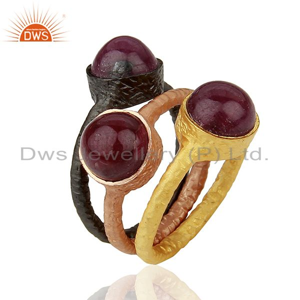 18K Gold Plated Sterling Silver Ruby Stacking 3 Pieces Ring Set
