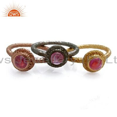 18K Gold Plated Sterling Silver Pink Tourmaline Stacking Ring 3 Pcs Set