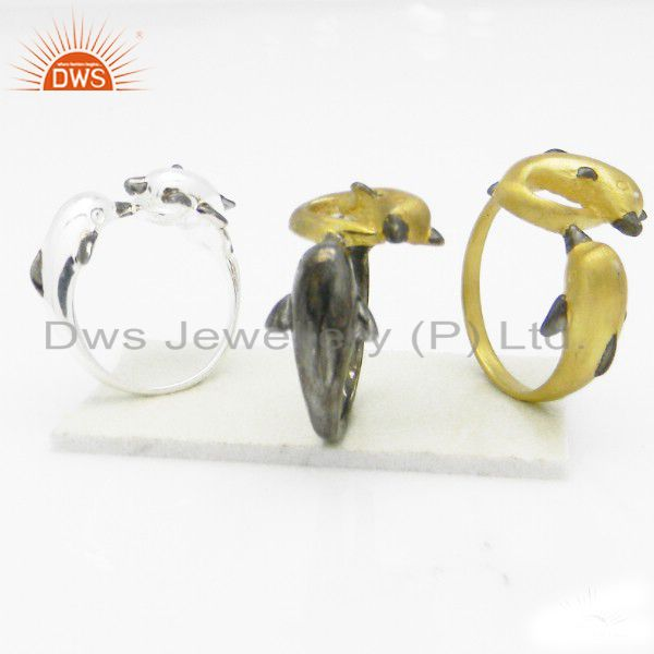 22K Yellow Gold Plated Sterling Silver Designer Dolphin Ring