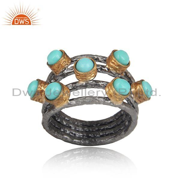 Arizona Turquoise Set Handmade Gold And Black On Silver Ring