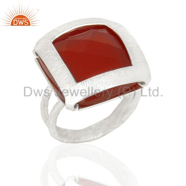 New Arrival Sterling Silver Red Onyx Gemstone Womens Ring Jewelry