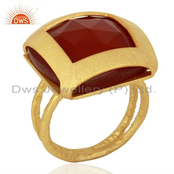 Womens Gold Plated Silver Natural Red Onyx Gemstone Fashion Ring