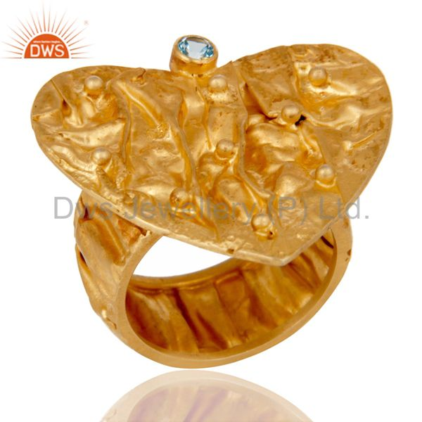 18K Gold Plated 925 Silver Blue Topaz Gemstone Heart Designer Handmade Ring