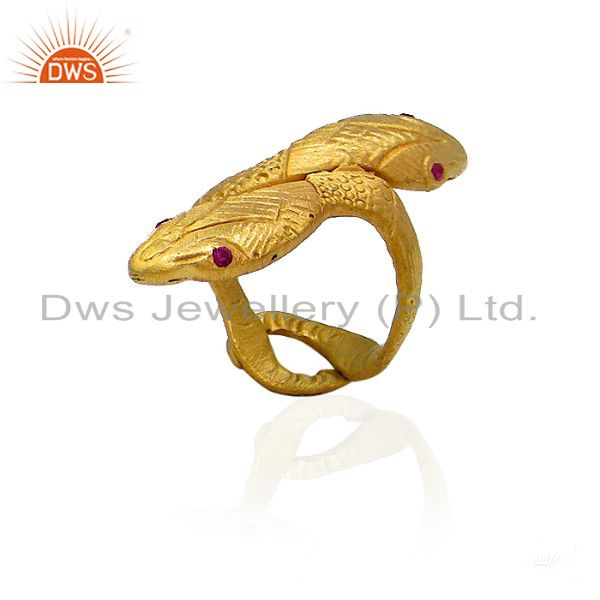 18K Gold Plated Sterling Silver Red Cubic Zirconia Snake Statement Ring