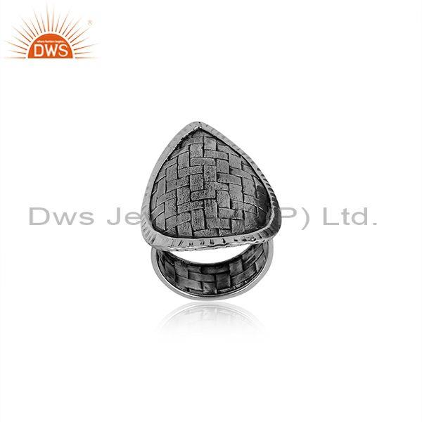 Pear Cut Charm Set Oxidized Silver Handhamered Classic Ring