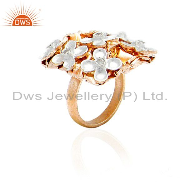 18K Yellow Gold Plated Sterling Silver CZ Flower Designer Cocktail Fashion Ring