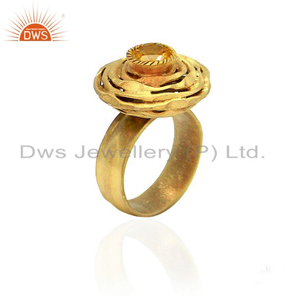 22K Yellow Gold Plated Sterling Silver Natural Citrine Gemstone Cocktail Ring