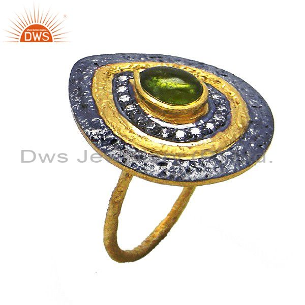 Oxidized And 22K Gold Plated Sterling Silver Green Tourmaline & CZ Cocktail Ring