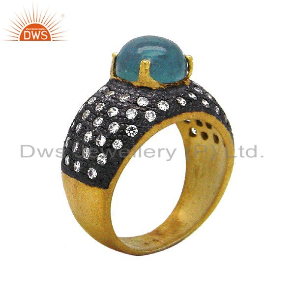 22K Yellow Gold Plated Sterling Silver Apatite And Cubic Zirconia Dome Ring