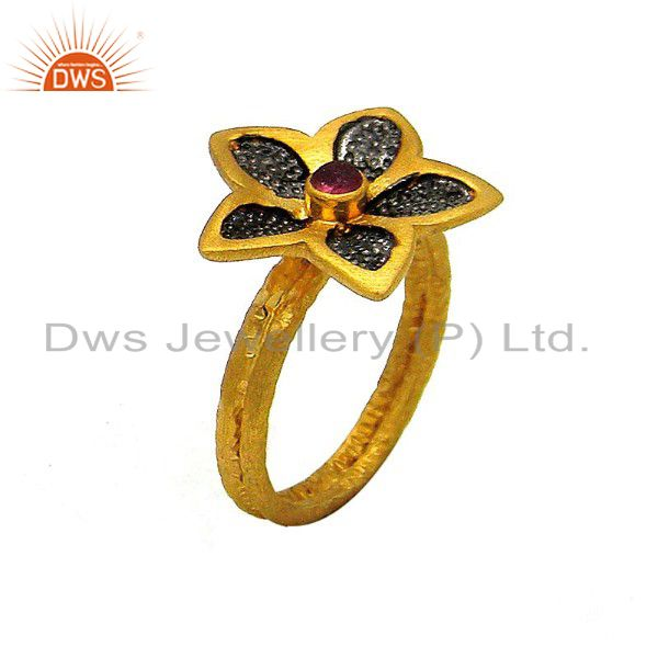 24K Yellow Gold Plated Sterling Silver Pink Tourmaline Flower Cocktail Ring