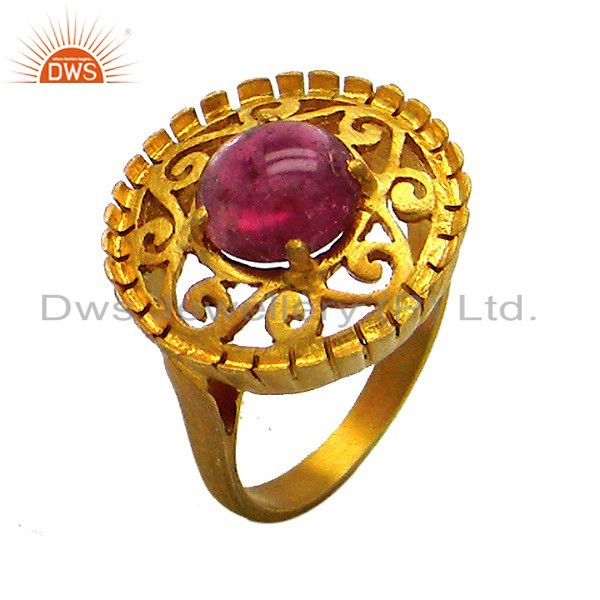 22K Gold Plated Sterling Silver Pink Tourmaline Gemstone Designer Cocktail Ring