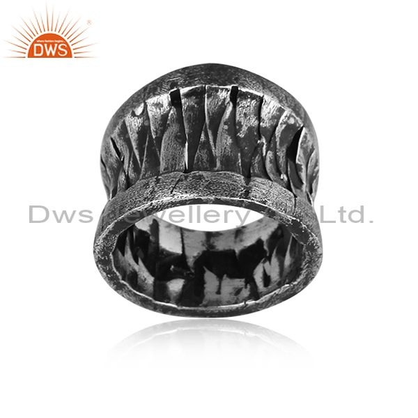 Handmade And Handhammered Oxidized 925 Silver Textured Ring