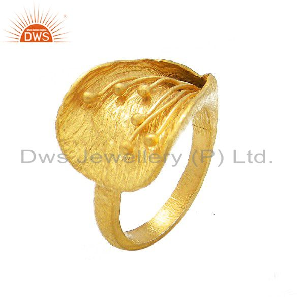 18K Yellow Gold Plated Sterling Silver Matte Finish Designer Ring