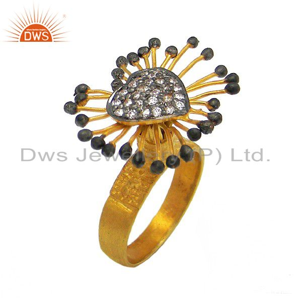22K Matte Yellow Gold Plated Sterling Silver Cubic Zirconia Designer Heart Ring