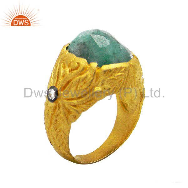 22K Matte Yellow Gold Plated Sterling Silver Emerald And Cubic Zirconia Ring