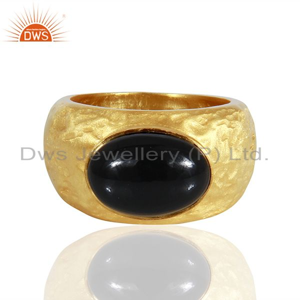 24K Yellow Gold Plated Sterling Silver Black Onyx Gemstone Designer Dome Ring