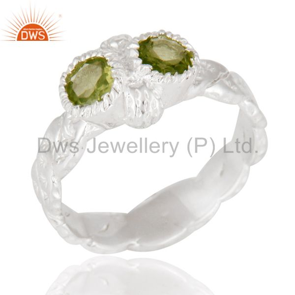 Indian Hammered Designer 925 Sterling Silver Peridot Gemstone Ring