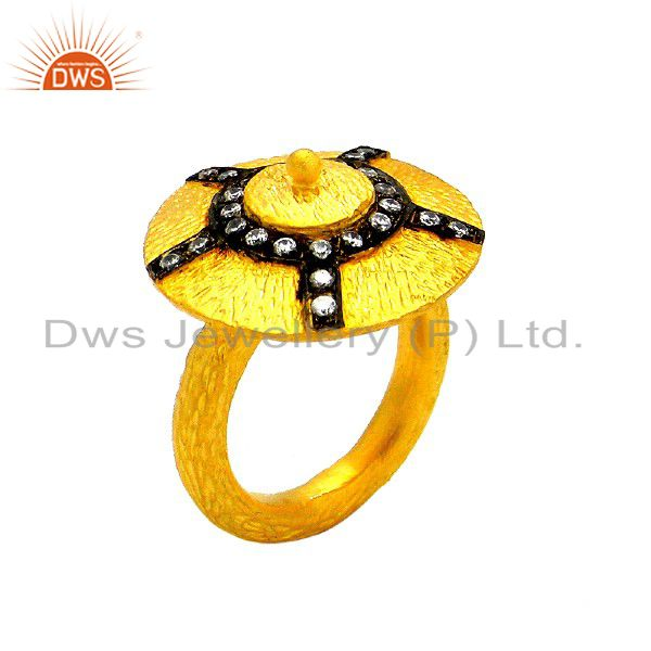24K Yellow Gold Plated Sterling Silver Cubic Zirconia Designer Cocktail Ring