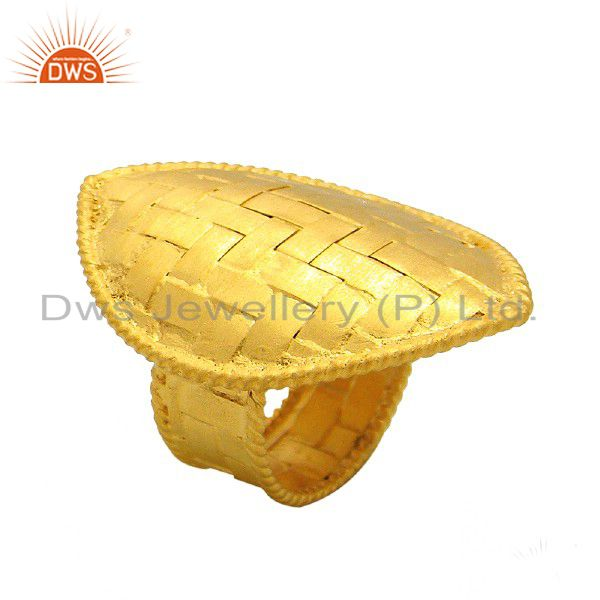 18K Yellow Gold Plated Sterling Silver Net Design Statement Ring