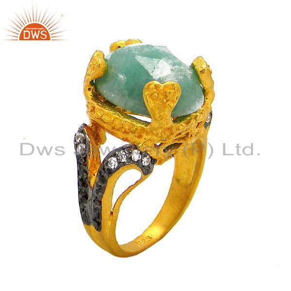 24K Yellow Gold Plated Sterling Silver Emerald Gemstone Prong Set Ring With CZ