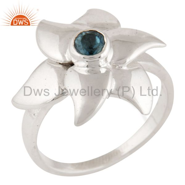925 Sterling Silver Blue Topaz Flower Designer Cocktail Ring