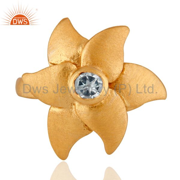 Yellow Gold Plated Sterling Silver Blue Topaz Beautiful Flower Designer Ring
